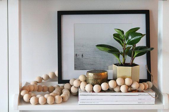 Nest & String für die Zusammenarbeit mit Perlen. Designer Holzperlen Girlande