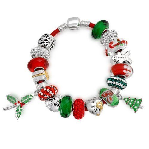 Bling Jewelry 925 Sterling Silver My Wife Heart Christmas Dangle Charm Bead Bracelet Bling Jewelry. Save 50 Off!. $169.99. Red Leather Cord with Screw Barrel Clasp. Compatible with Pandora, Biagi, Troll and Chamilia. Christmas tree, Candy Cane, flowers, Reindeer and Santa Glass beads. 925 Sterling Silver, Leather, Murano Glass, Enamel. Christmas Theme Bracelet