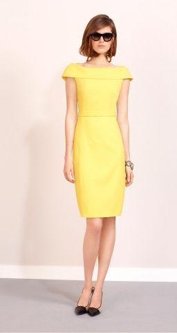 Robe jaune en crêpe envers satin Paule Ka - ClicknDress