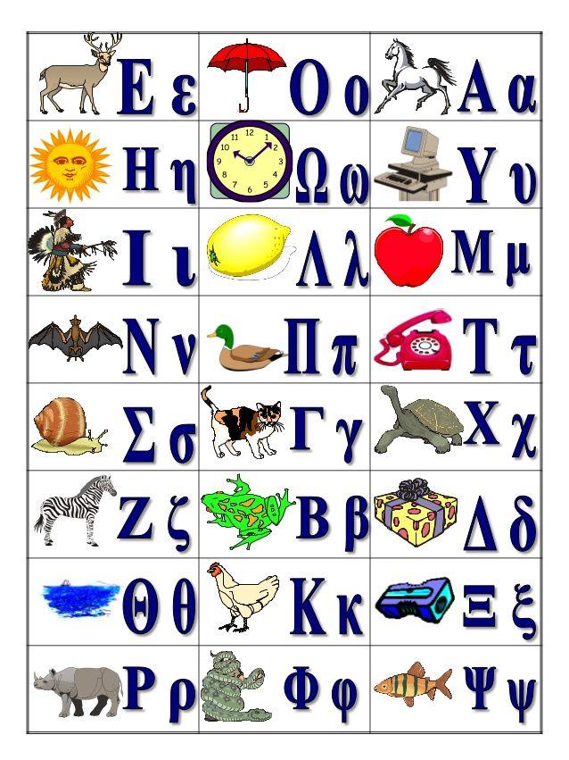 Kαρτέλες για την αλφαβήτα A΄ τάξη