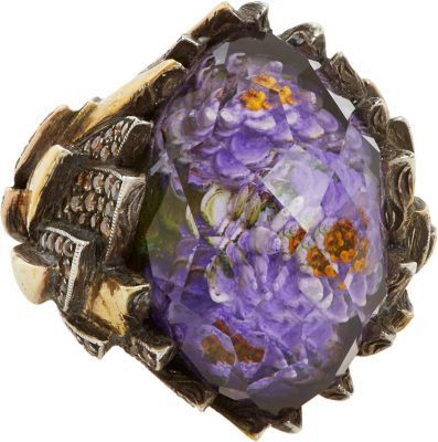 Sevan Biçakçi Amethyst, Multicolor Diamond, Gold & Sterling Silver Lotus Ring
