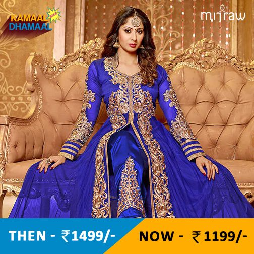 Blue embroidered net semi-stitched salwar with dupatta.Shop Now- http://bit.ly/1GykrWu
