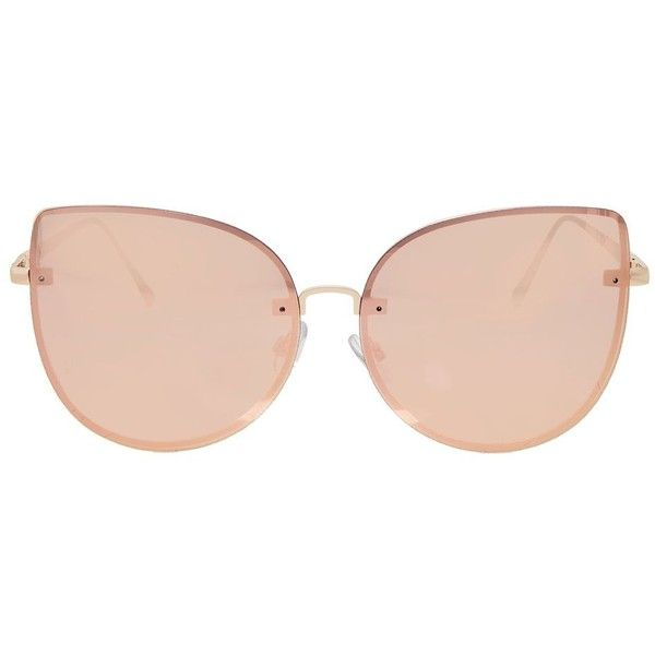 Topshop Oversized Kitten Sunglasses ($31) ❤ liked on Polyvore featuring accessories, eyewear, sunglasses, rose gold, oversized sunglasses, topshop sunglasses, over sized sunglasses, oversized eyewear and oversized glasses
