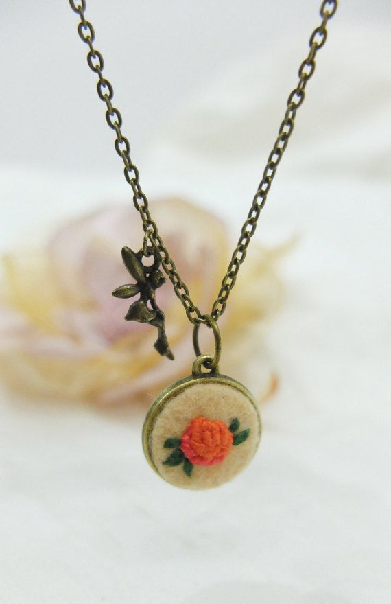 Rose embroidery pendant.Felt Jewelry. Fairy by GiftOfFelt on Etsy