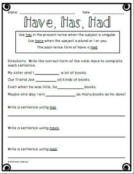 Have Has Had Worksheet