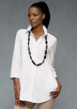 Crisp White Shirts + long pendant necklace!