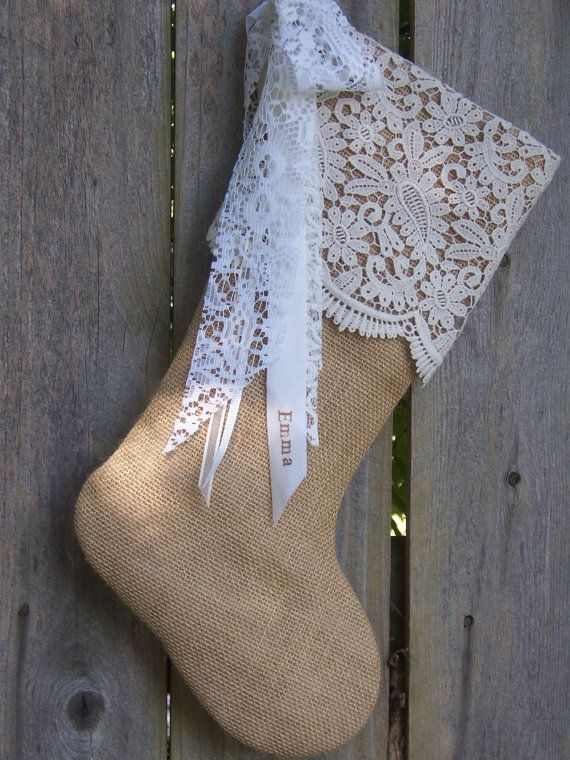 Burlap Christmas Stockings  French Country  by sewingpassion, $45.00