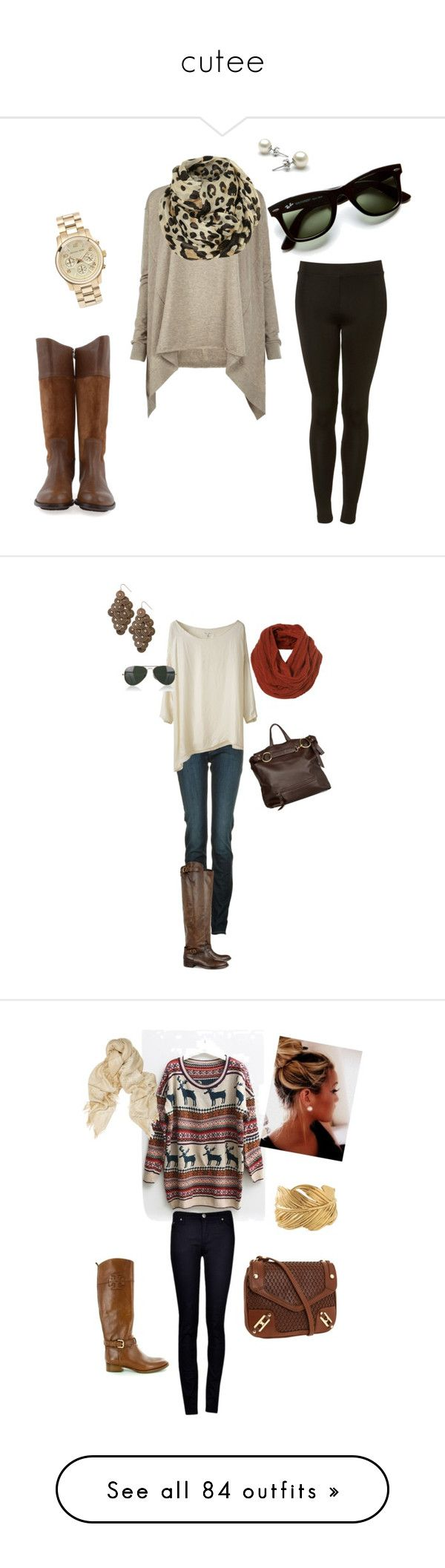 """cutee"" by annie-christian ❤ liked on Polyvore featuring AllSaints, Ray-Ban, Objects in Mirror, Michael Kors, leopard print, riding boots, printed scarves, leggings, Armani Jeans and Belstaff"