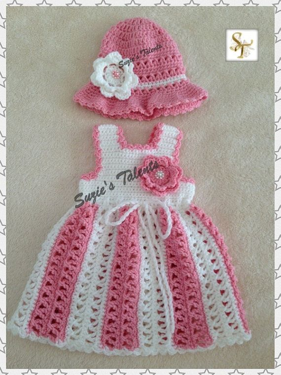 Maria .... Dress and Hat Set Baby Dress and Hat by SuziesTalents