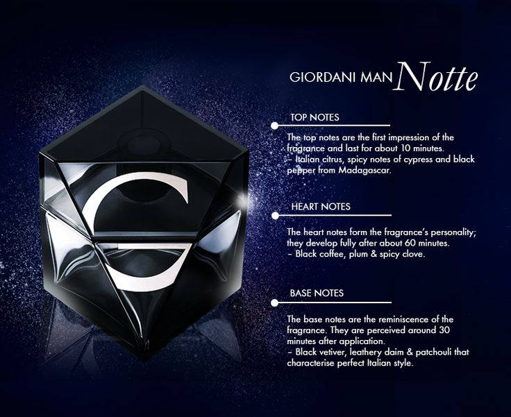 Did you know? Fragrances are specifically designed with top, middle, and base notes, which when blended together, they create the perfume's fragrant accord. To demonstrate these 3 different levels of notes, we've used Giordani Man Notte as an example!