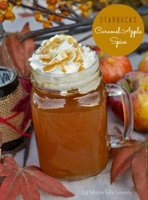 Make Life Lovely: Starbucks Caramel Apple Spice Recipe. I've probably pinned this before but am too lazy to check. Must try!
