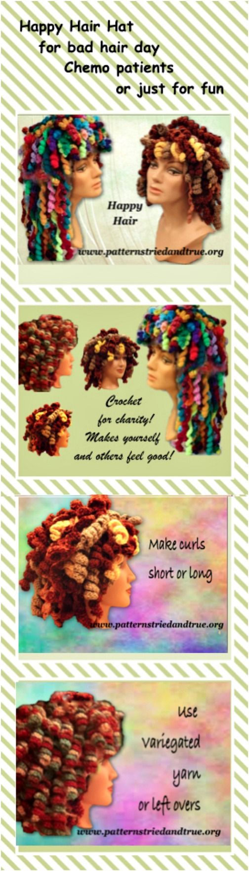 Crochet Wig Happy Hair Hat Pattern, Cancer Patient Hat, Disguise a bad hair day… Make happy hair in any color you wish and have so much fun with it: Crochet this hat as welcomed cover-up hat for chemo patients, for your bad hair day, or just a fun hat.