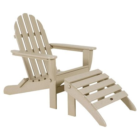 Relax with a frozen cocktail on the patio or dive into your latest read poolside with this lovely Adirondack chair and ottoman set.