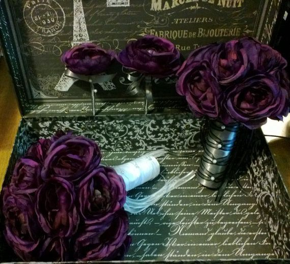 17 Piece Eggplant Ranunculus Bouquet Bridal by SilkFlowersByJean