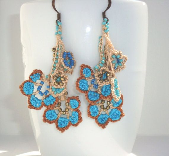FREE SHIPPING Turquoise Crochet Earrings Oya by cocolocca on Etsy, $20.00