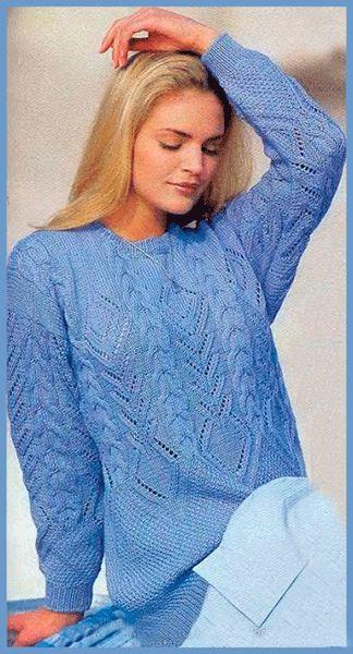 СХЕМА!  Голубой узорчатый пуловер