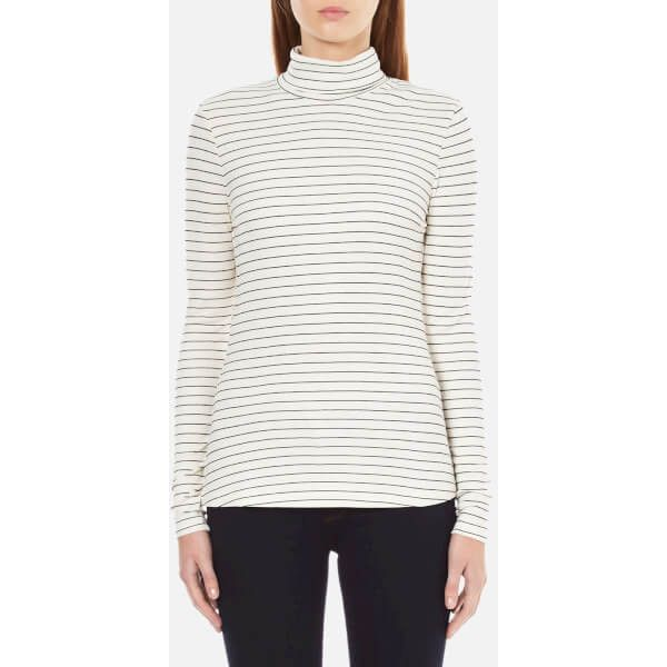 Gestuz Women's Emelda Roll Neck Jumper - Tapenade ($36) ❤ liked on Polyvore featuring tops, sweaters, white, striped top, white jumper, stripe sweater, roll neck sweater and white long sleeve sweater