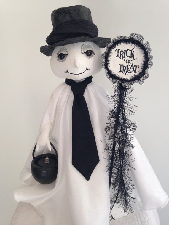 Doll Folk Art Decoration Halloween Ghost  by ArtfullyHandcrafted