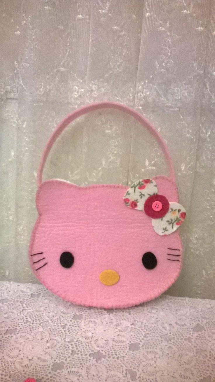 felt, felt bag, felt bag for kids, hello kitty bag, hello kitty, keçe çanta, keçe