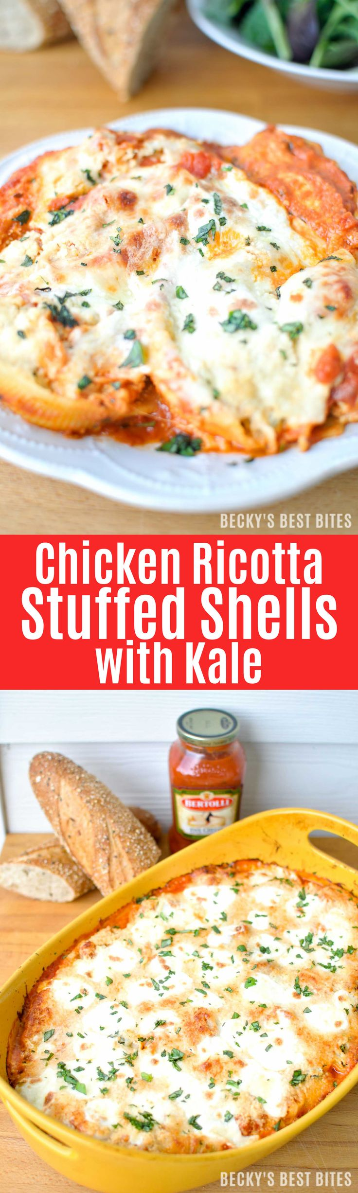Chicken Ricotta Stuffed Shells with Kale is an easy Italian inspired meal with fresh seasonal produce for a large gathering with the help of Bertolli pasta sauces. | beckysbestbites.com #VivaBertolli #ad