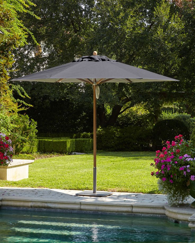Charcoal (Grey) Standard Canopy Outdoor Umbrella - Neiman Marcus