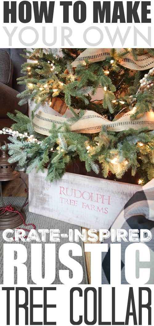 This DIY rustic Christmas tree collar looks so clean and tidy under a tree and is much less likely to get messy compared to a traditional tree skirt. It's also a really trendy look and a completely affordable project!