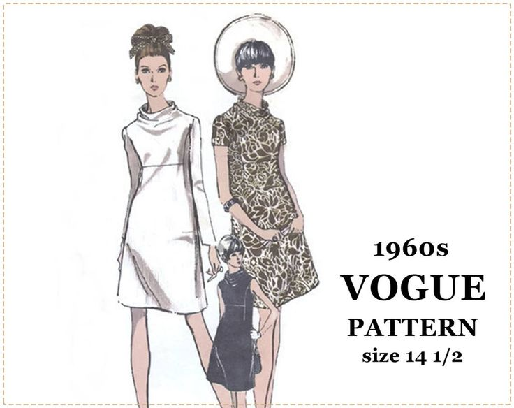 1960s Sewing Pattern - Vogue 7302 Pattern - One-Piece Dress, Half Size, Fitted, A-Line, Cowl Neck - Size 14 1/2, Bust 37 - 1960s Mod Dress by EightMileVintageSews on Etsy