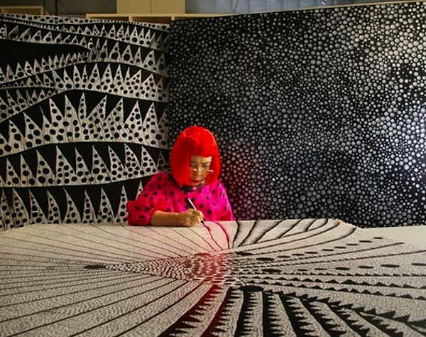 Artist Yayoi Kusama in her studio in the psychiatric hospital in Tokyo and back in the days in her New York studio.  Having suffered nervous...