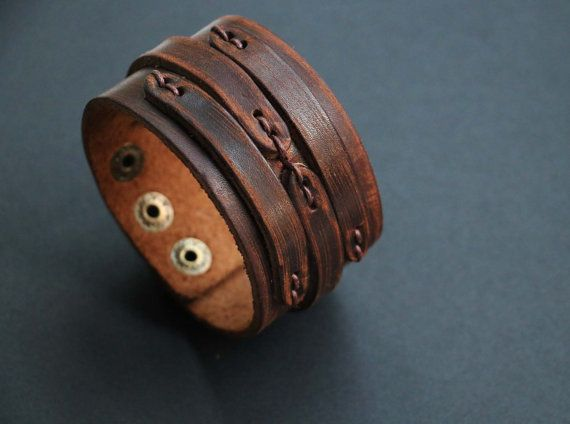 Men's Cuff Leather Cuff Mens Leather Bracelets by WarmHeartHouse