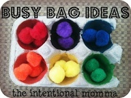 Pom-Pom Busy Bag idea: Toddler learns to sort colors (use mini muffin tin or egg carton)