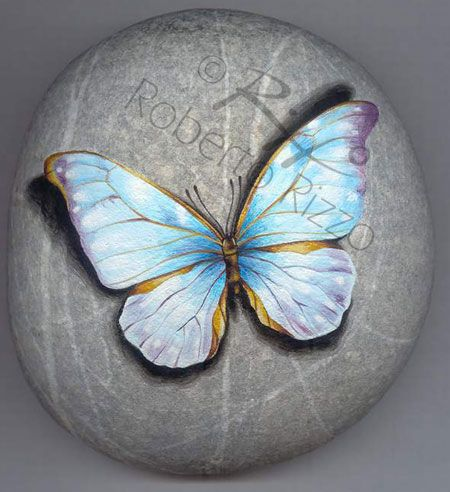 Butterfly | Rock painting art by Roberto Rizzo