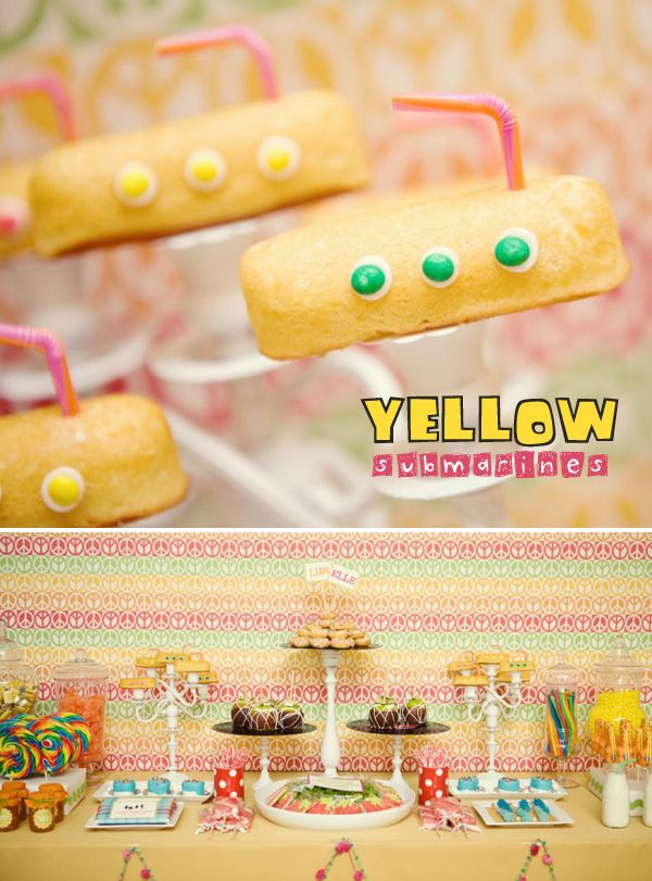 Yellow Submarine Twinkies - Connor would LOVE this for his birthday!!!!  Awesome party ideas
