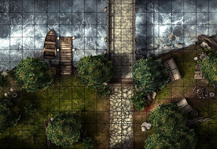Bridge encounter, a printable battle map for Dungeons and Dragons / D&D, Pathfinder and other tabletop RPGs. Tags: bandit, camp, encounter, bridge, tent, bridge, forest, tree, river, tile set, boat, wilderness, print
