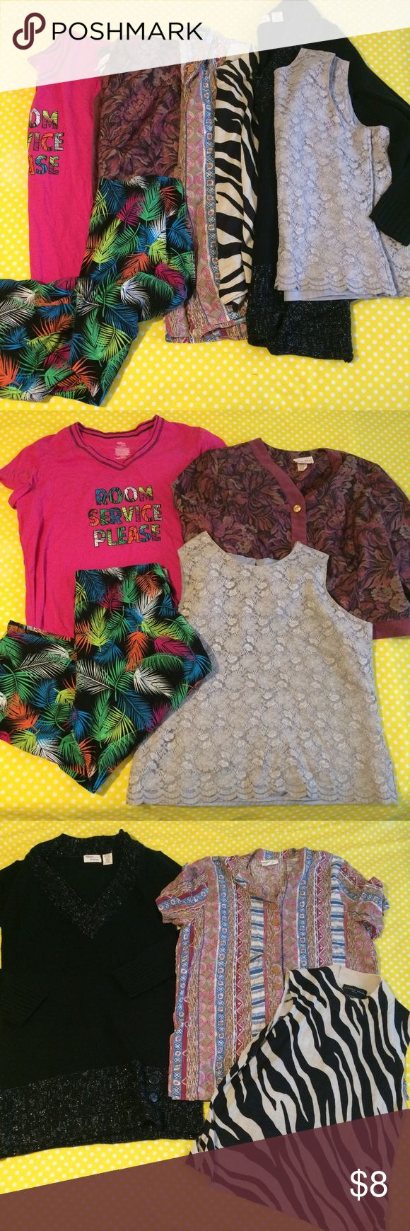 Women's large and extra large clothes bundle Lot Bundle Lot for women's sizes are large and extra large  3rd photo shows all size extra large  Last pic shows flaws one on black sweater dress has small snag hole and colorful tropical pajama capris have some light wash wear  #bundle #womens #tops #sweaterdress #knit #extralarge #large Tops Tees - Short Sleeve