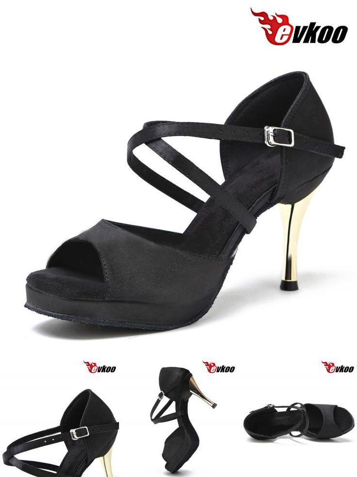 [Visit to Buy] Evkoodance Zapatos De Baile Women US4-12 Black Platform 8.5cm Comfortable Latin Salsa Ballroom Dance Shoes Ladies Evkoo-419 #Advertisement