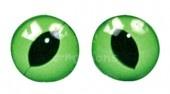 Kočičí oči zelené 10mm, našívací, 1 pár