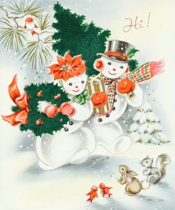 Luv! Vintage Snowcouple Christmas Card ~ Coral/Orange Accents