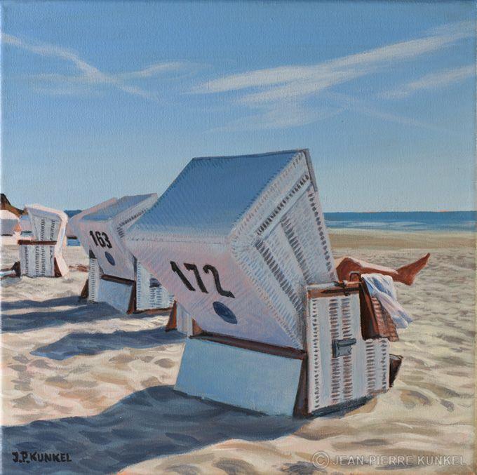 strandkorb beach impression summer 2015 oil painting. Black Bedroom Furniture Sets. Home Design Ideas