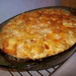 Best Mac and Cheese Ever. Boil mac until somewhat tender. Mix w melted butter, most of the cheeses, half and half and eggs. Top w remaining cheese and dot w butter. Bake in buttered dish 30 min.