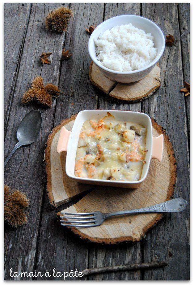 recette de gratin de noix de pétoncles, crevettes et champignons de Paris frais