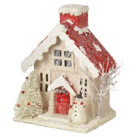 "Cottage decor with a winter theme.  Product: House decorConstruction Material: Paper pulpColor: White and redDimensions: 9.5"" H x 7"" W x 5.5"" D"