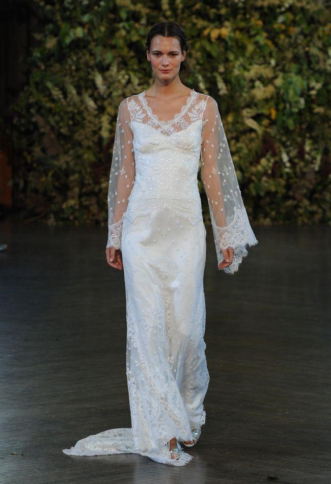 Lace Bell Sleeve Wedding Dress   Claire Pettibone Wedding Dresses Fall 2015   Kurt Wilberding   blog.theknot.com