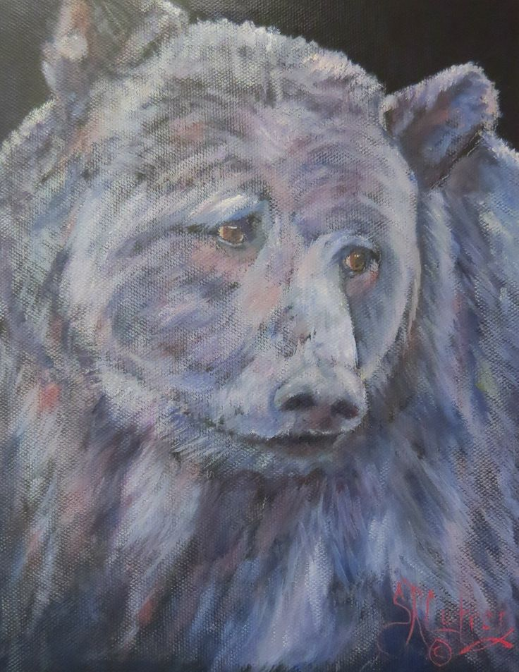 Say Supper? Grizzly bear on black canvas, original oil painting ...