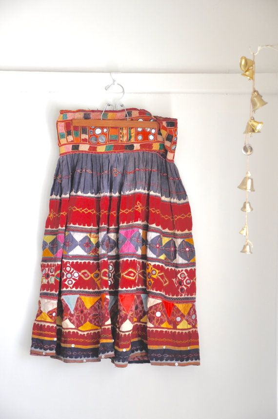 Rajasthan Patchwork spiegel rok, Vintage Banjara Tribal kostuum, Boho Indiase katoenen nationale jurk, Festival Fashion, India borduurwerk