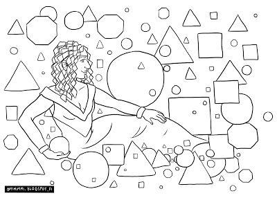 OPTIMIMMI   A free coloring page of a lady and geometric shapes / Ilmainen värityskuva naisesta ja geometrisistä muodoista