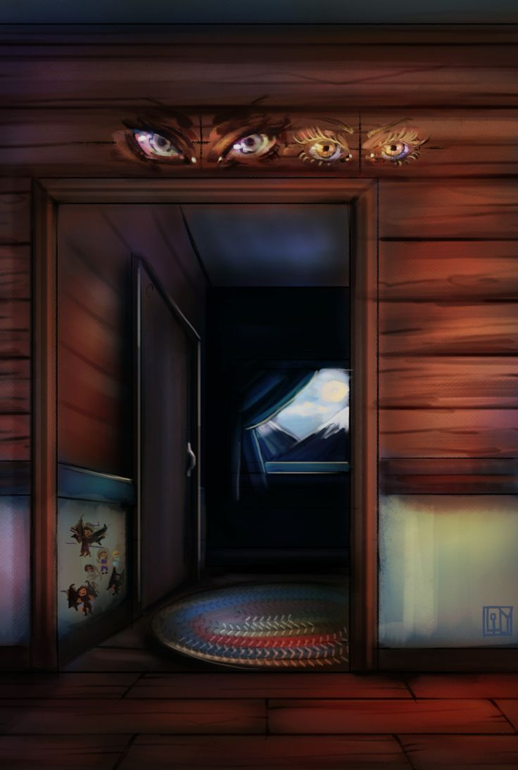 Feyre's paintings in Rhys's family cabin! Amren and Mor keeping their eyes eternally on the boys. (And Mor's little stick figure additions next to the closet. :P) Big doors for Illyrian wings, and a cozy feel, since the cabin was such a lovely...