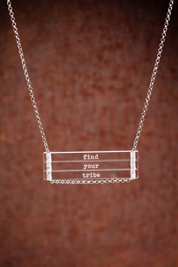 NEW Find Your Tribe - clear bar necklace; stainless steel - waterproof - quote jewelry