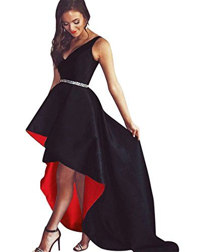 64276705ad66c New QueenBridal Amazing Hot Sale Black White High Low Prom Evening ...