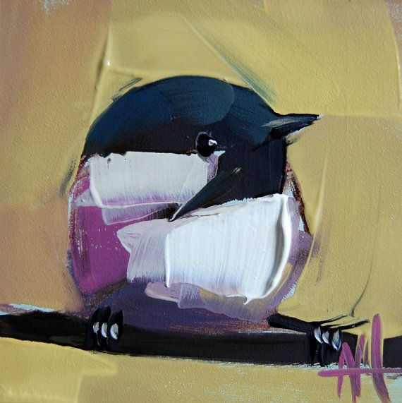 Chickadee no. 558    4 x 4 x 1/8 inch (10.16 x 10.16 cm)    Oil paint on archival gessobord panel. Signed. Unframed.    Copyright: Angela Moulton ©