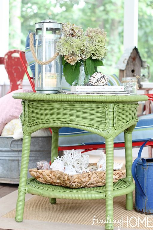 Inexpensive Wicker Spray Paint Furniture To Add Color To Sunroom